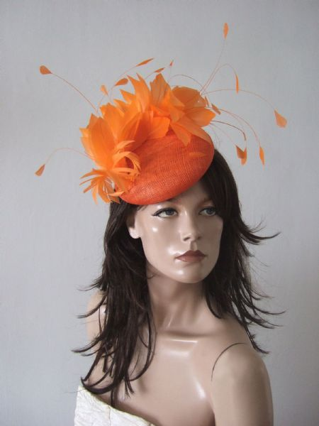 "Jaffa Orange Feather Fascinator Smartie Hat ""Moya"" Royal Ascot / Kentucky Derby Headpiece"